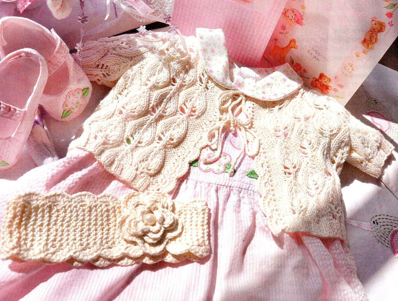 Комплект из кофточки и ободка для новорожденной девочки вязаный спицами