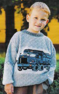 Джемпер с вышитой машинкой на мальчика
