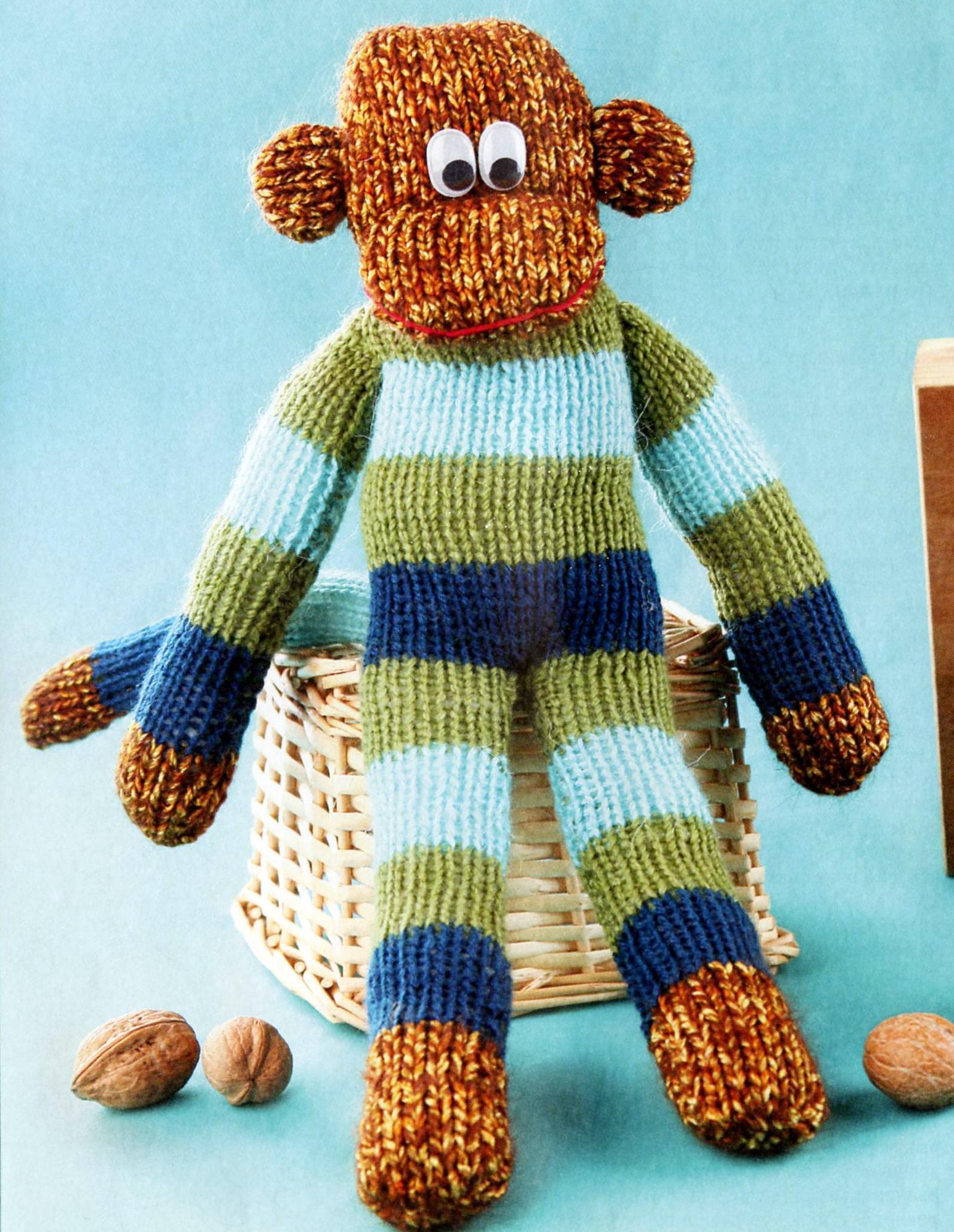 Забавная игрушечная обезьянка вязаная спицами